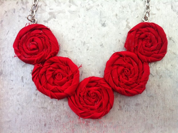 Fire Truck Red Rosette Necklace  Summer by TheGentleFlower on Etsy