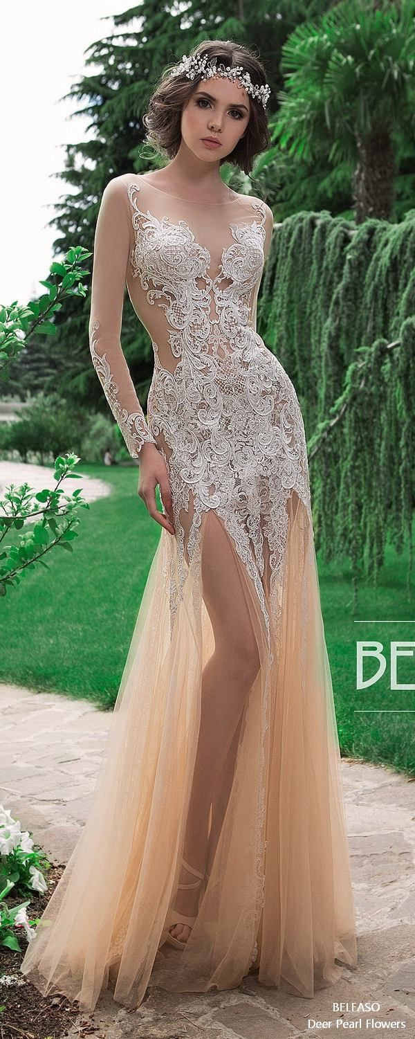Bridal Long Sleeves Dress Lace Elegant Sexy Fit and Flare Wedding Dress Low Back Berkley