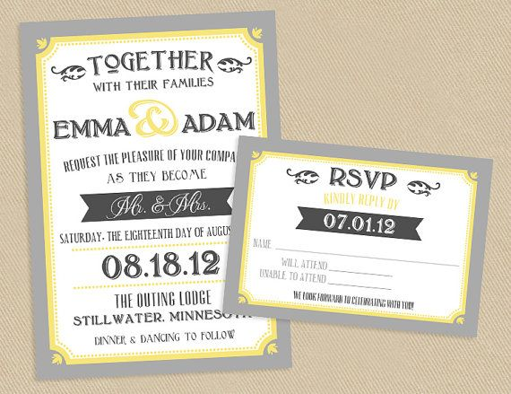 Delightful Printable Wedding Invite And RSVP Invitation Set   Yellow And Grey Vintage  Typographic Poster Style On