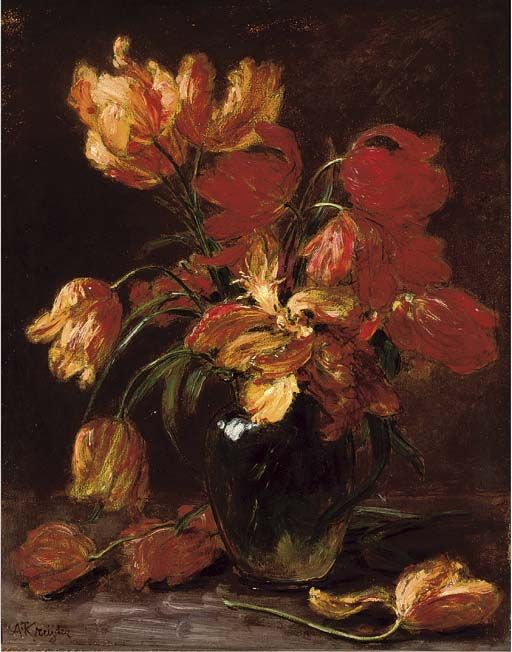 Parrot tulips in a glass vase, Alexis Kreyder. French (1839 - 1912)