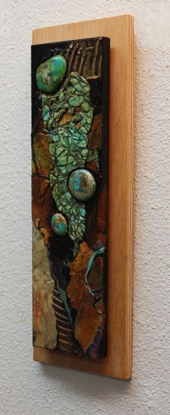 """This painting has a lot of mixed media materials in it, including plaster of Paris """"stones"""".  They are so fun to paint.  The painting i..."""
