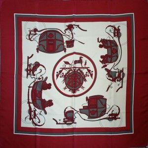 Hermes silk twill classic 1970s 'Ex Libris' full size scarf in box