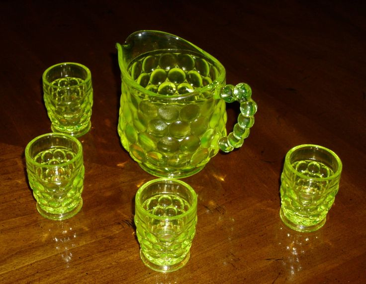 VASELINE GLASS Child's Pitcher and Four (4) Matching Glasses. Marked: WESTMORELAND. Pristine Condition! by GraysideCottage on Etsy