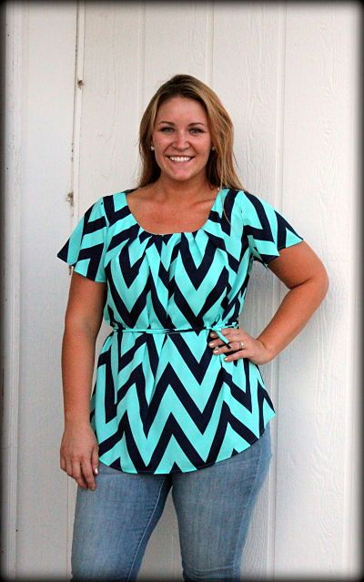 Plus Size Chevron Mint and Navy Pleated Blouse with TiePurchase