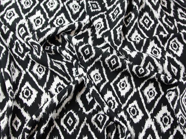 Ikat Print Viscose Dress Fabric Black & White | Fabric | Dress Fabrics | Minerva Crafts