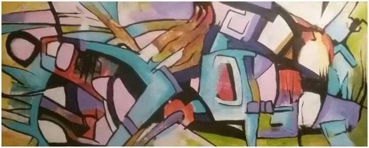 "Silvie Kreiselová  ""JEDEN DEN "" Acryl 32x60."