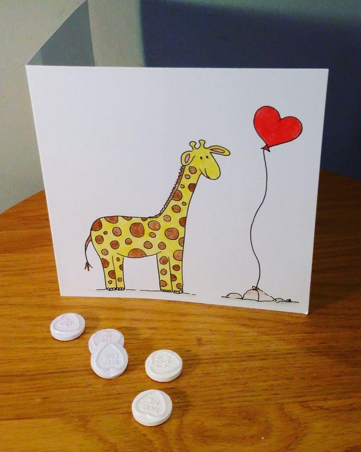 Giraffe, valentine's day card, love card, valentine's by CharlotteadcockArt on Etsy
