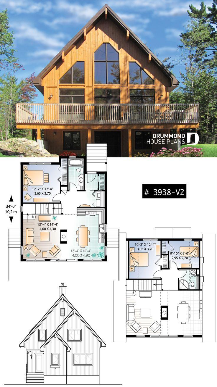 Three bedroom, two bathroom rustic chalet house plan