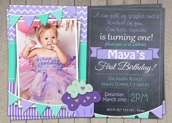 Girls First Birthday Invites - 1st birthday invitations girl purple