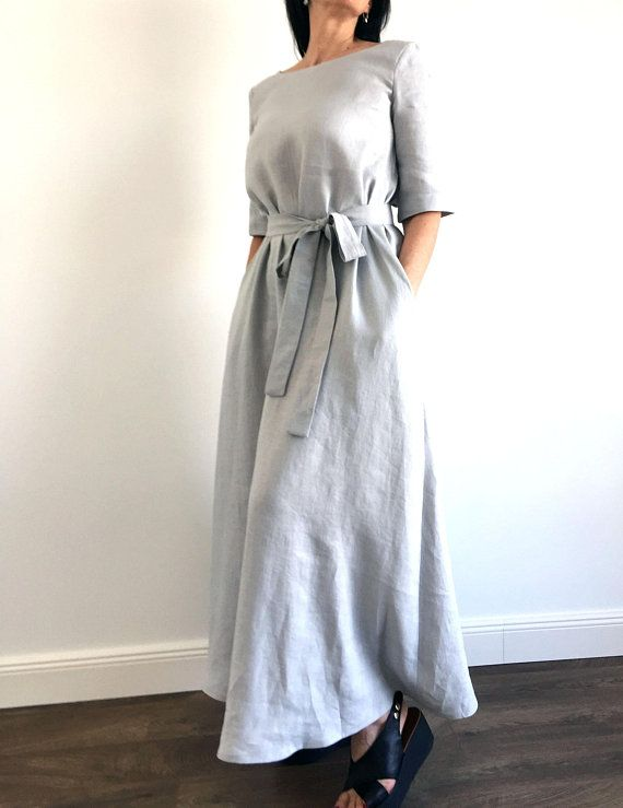 dea317e0ef15 Linen maxi dress with belt, loose linen casual dress , modern minimalist  dress, long summer soft dress, light grey with pockets snd sleeves