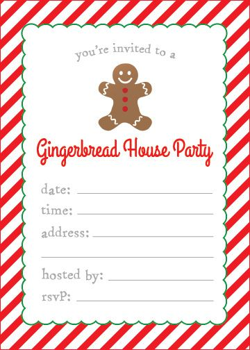gingerbread house decorating party free printable invitation