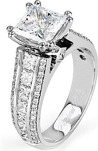 FlyerFit Three Stone Princess Cut & Pave Engagement Ring 5137SPR