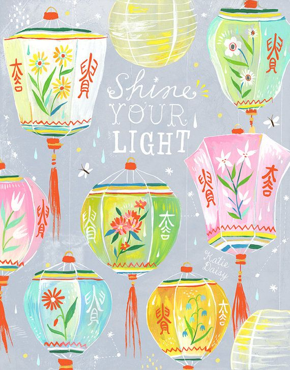 Shine Your Light Art Print | Chinese Lanterns | Katie Daisy Wall Art | 8x10 | 11x14