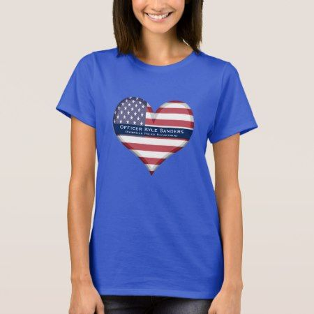Custom Thin Blue Line Heart T-Shirt - click/tap to personalize and buy