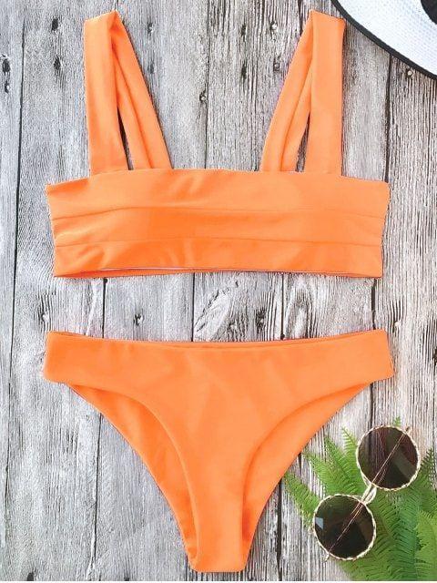 Padded Wide Straps Bandeau Bikini Set - NEON ORANGE S