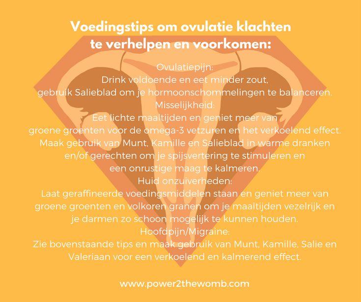 Voedingstips om ovulatieklachten te verhelpen en voorkomen: http://www.power2thewomb.com/tips-happy_healthy-menstruation-cycle-nleng.html #voedingstips #ovulatiepijn #misselijkheid #acne #migraine