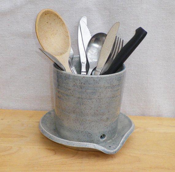 Cutlery drainer utensil jar toothbrush holder hand thrown pottery