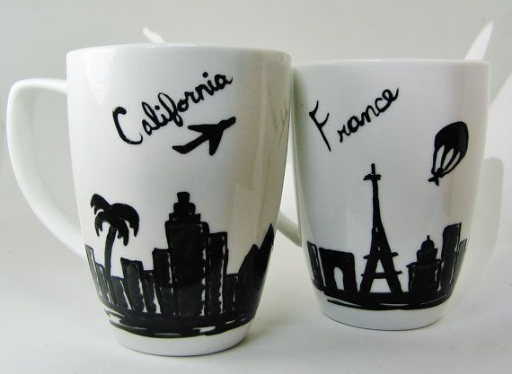 Moving Gift State to State Mugs Set of 2 Long Distance by 39Cups, $29.95
