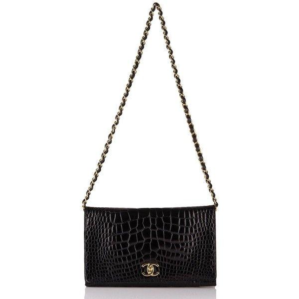 Chanel Vintage Black Crocodile Full Flap Bag (Preloved Mint) (€6.650) ❤ liked on Polyvore featuring bags, handbags, flap purse, flap handbags, croc embossed handbags, chanel and mint purse