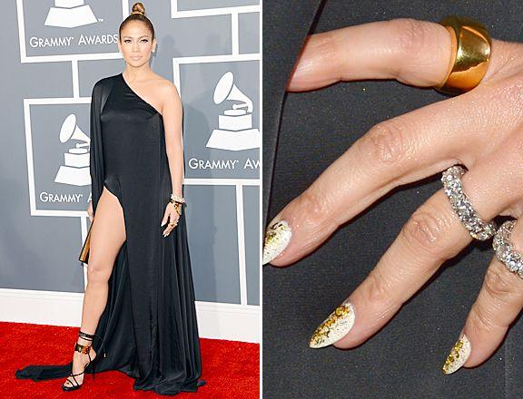 Jennifer Lopez gilded nails @ 2013 Grammys