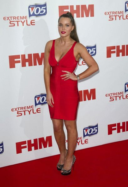 Helen Flanagan Lookbook: Helen Flanagan wearing Cocktail Dress (3 of 9). Helen Flanagan strutted her stuff at the FHM Sexiest Women in the World Awards in a skintight red dress.