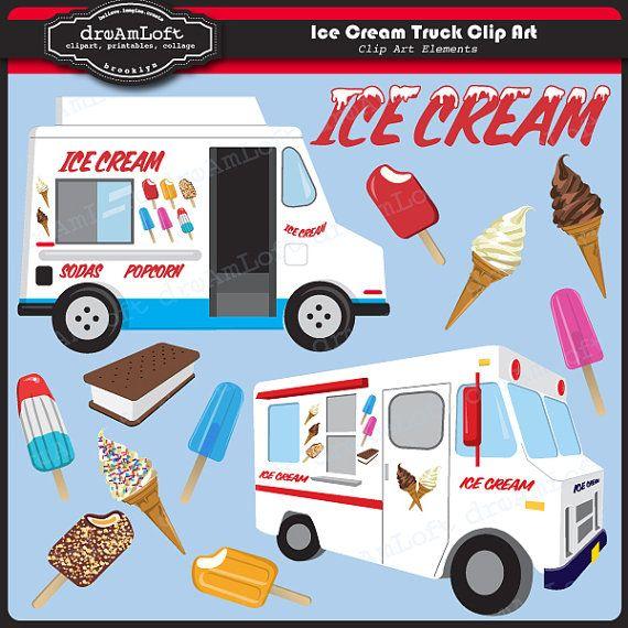 Ice Cream Truck Clip Art #clipart #icecream #printable