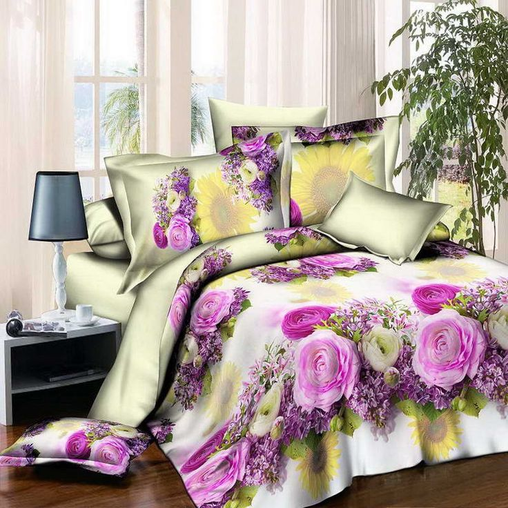 New Style White Red Flower 3D Bedding