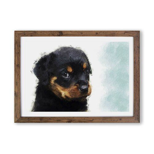 East Urban Home Rottweiler Puppy Picture Frame Painting Print