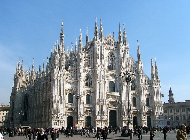Milan Cathedral in Milan, Italy, was begun in 1386 and completed in 1965.  This Gothic style cathedral is the fourth largest in the world and the largest in Italy.