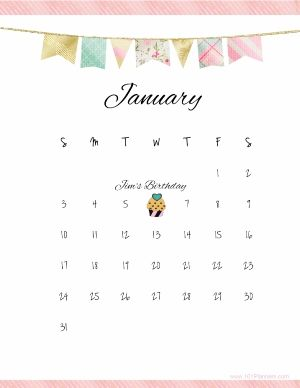 Free January calendar. Instant download. Customizable.