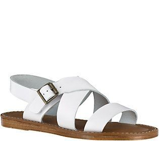 Bella Vita Leather Flat Slingback Sandals - Nic