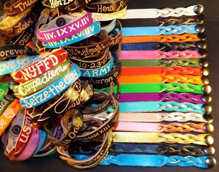 Engraved leather bracelets - Custom leather engraved Bracelets - Personalized leather bracelets for couples - leather custom bracelets by ShockwaveMB on Etsy https://www.etsy.com/listing/209437379/engraved-leather-bracelets-custom