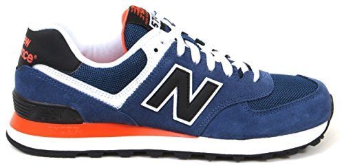 New Balance Men's ML574 Core Plus Pack Running Shoe, Blue/Black mid-sole color Red Orange/White, 7.5 D US - http://all-shoes-online.com/new-balance/7-5-d-m-us-new-balance-mens-ml574-core-plus-sneaker-2