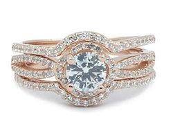 .925 Sterling silver rose gold plated CZ multi stacking ring