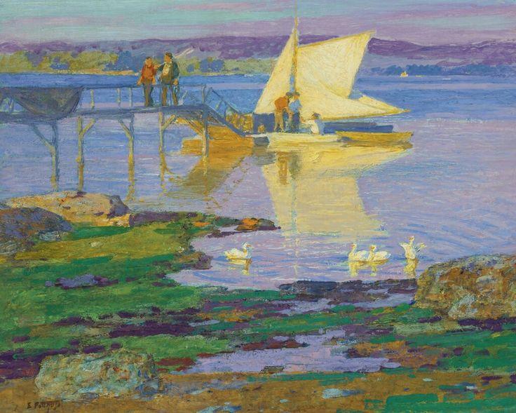 Edward Potthast, American Impressionist, Boat at the Dock, oil