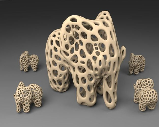 Elephant Voronoi Style free 3D model ready for 3D