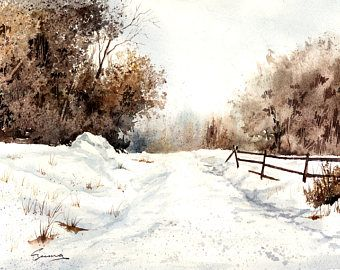 "Giclee , fine art print, winter,snow,landscape, Walter Czuma,titled ""The road home"""
