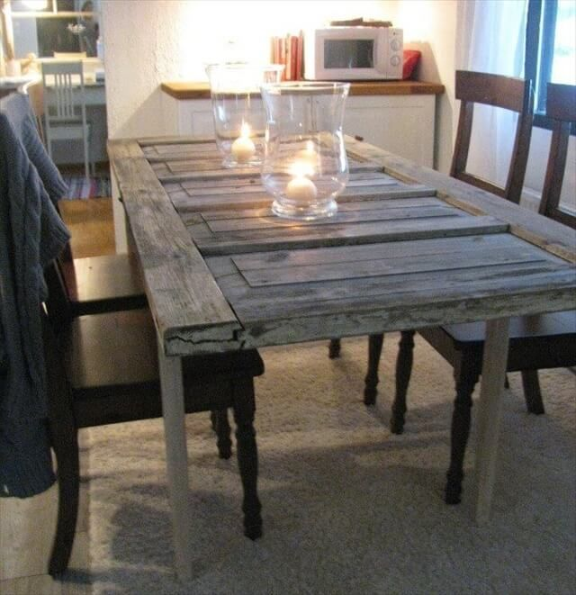 Dining Table Out Of A Old Door