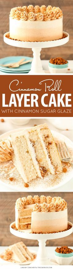 Cinnamon Roll Layer Cake - a recipe from the new cookbook Simply Beautiful Homemade Cakes by Lindsay Conchar   on TheCakeBlog.com