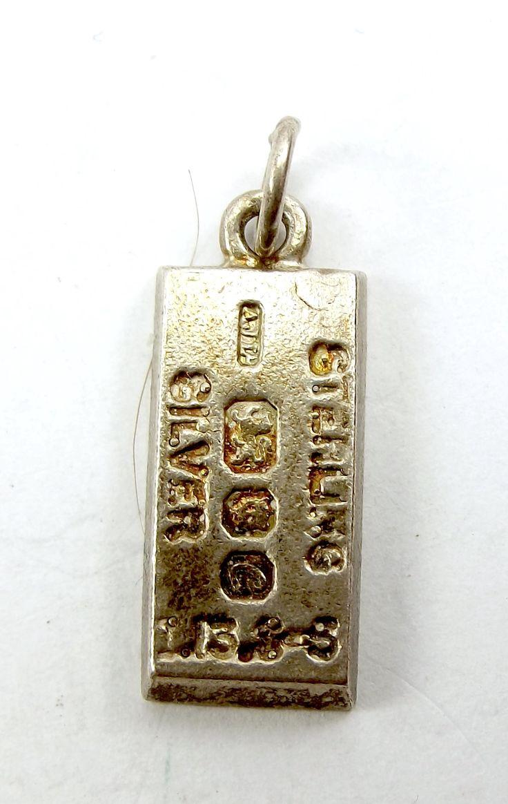 Vintage English CHIM Sterling Silver INGOT Charm 1977 Bullion Bar