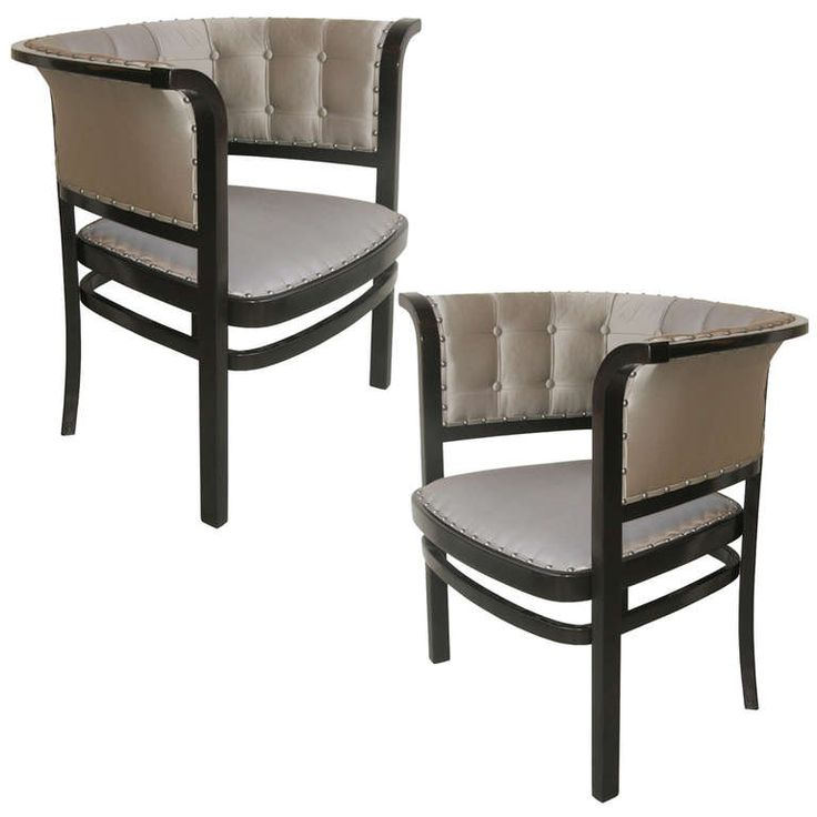 Pair of Vienna Secession armchairs in dark mahogany stained beech wood with silver grey silk upholstery by Marcel Kammerer, produced by Thonet, Austria, c. 1910.