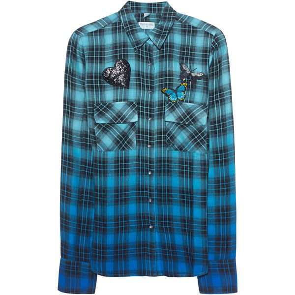 TRUE RELIGION Check Laguna Blue // Checkered viscose blouse ($180) ❤ liked on Polyvore featuring tops, blouses, blue checkered shirt, blue shirt, long-sleeve shirt, long sleeve shirts and heart shirt