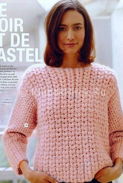 Джемпер пышными столбиками | Вязание для женщин | Вязание спицами и крючком…