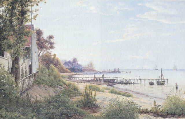 """Vilhelm Peter Karl Kyhn: """"Strand ved Hellebæk, nedenfor Puggaards villa, kaldet Majorgården"""". 1879."""