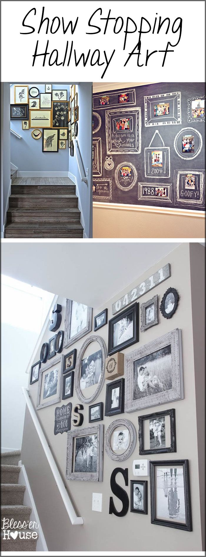 I would have never thought that chalkboard paint in the hallway would be a good idea! I love the idea of a timeline written on the chalkboard paint. Such a cute way to see how your family has grown...