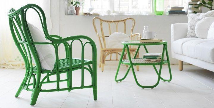 Mobiliario hecho con materiales naturales renovables. Es de la colección NIPPRIG de IKEA.