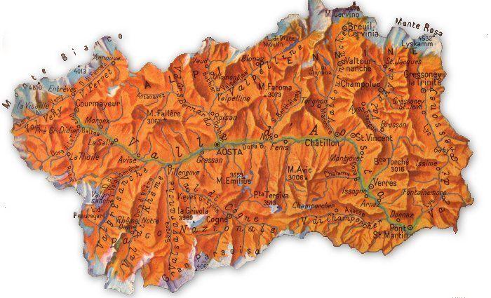 Cartina Geografica Della Valle D Aosta Da Stampare.Cartina Geografica Della Valle D Aosta Geografia