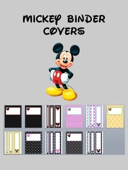 """Mickey Mouse binder covers.  The first one matches the Disney themed items I have listed in my store!  All of the covers also have matching binder spine inserts for 1"""", 2"""", and 3"""" binders.  Text can be added on any photo editing software.  I am also willing to add text for you for an extra fee."""