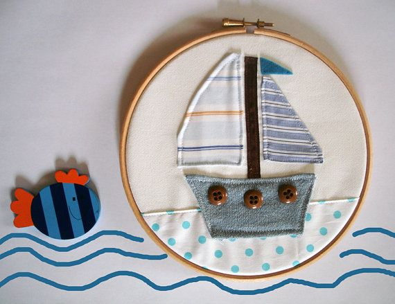 #embroidery #HoopArt, #nursery hoop art #sailing #boat, kids room #nautical #decor