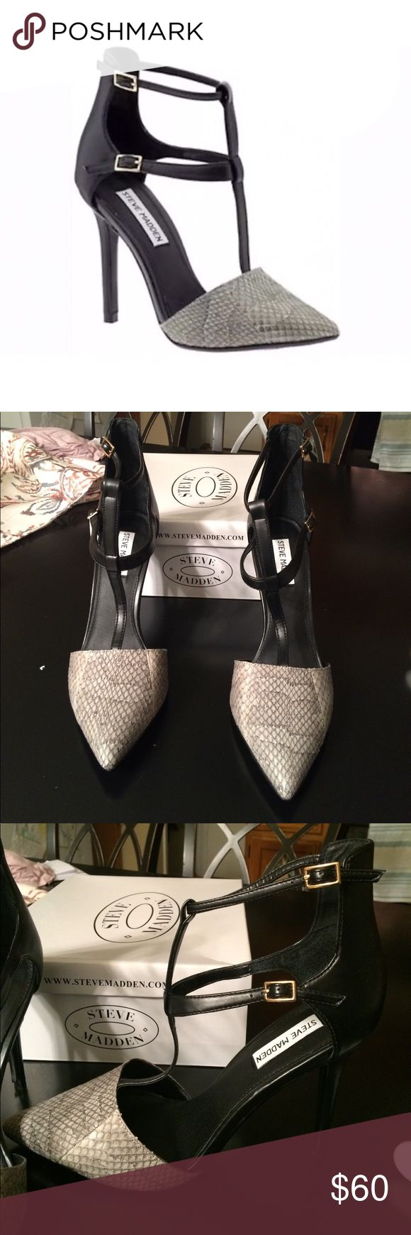 """Steve Madden Strappy buckle heel Super chick Strappy buckle Steve Madden heels. Shake skin toe that is off white and dark gray in color. Buckles are gold. Leather upper and rubber/plastic outsole. Heel Hight is just a touch over 4"""". Brand new. Steve Madden Shoes Heels"""